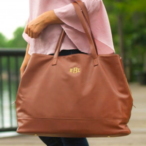"This Traveler's Tote is perfect ""on the go"" or for everyday.  Add a monogram to make it extra special!  Makes a GREAT work bag!"